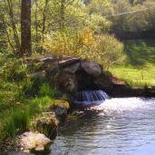 Extérieur - Arrivée d'eau en cascade dans le bassin aquatique